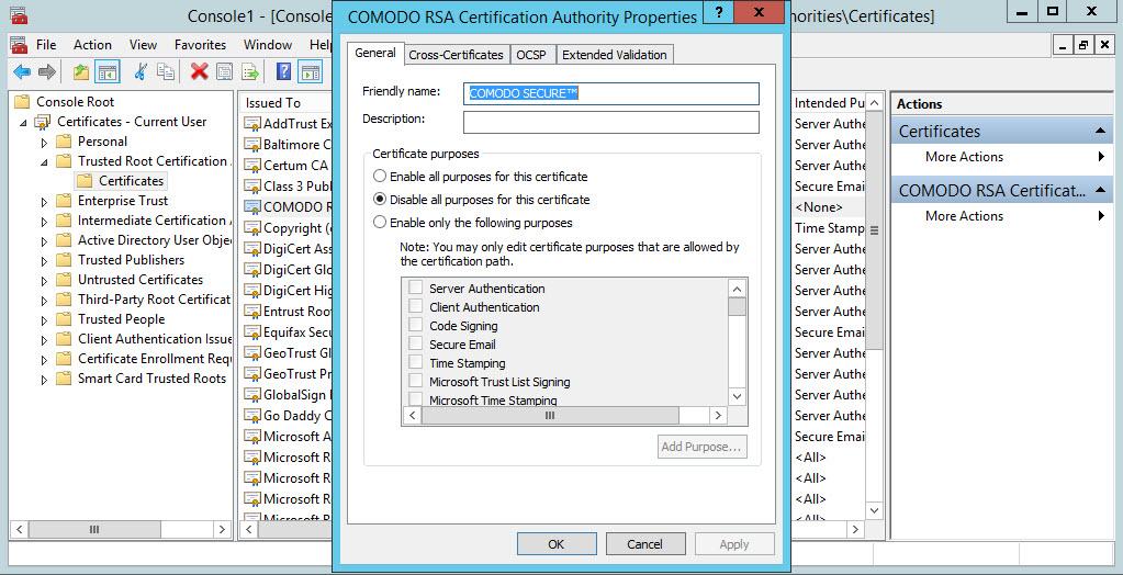 رفع مشکل chain SSL در ویندوز سرور