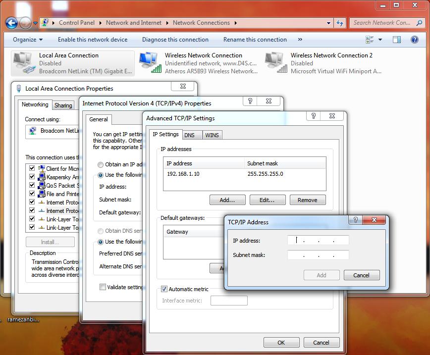 چگونگی اضافه کردن یک آدرس IP در ویندوز
