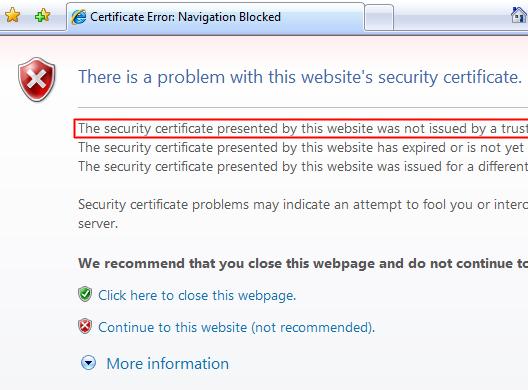 رفع خطای SSL در Internet explorer
